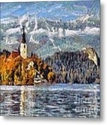 Lake Bled And Mountains Metal Print