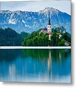 Lake Bled Island Church Metal Print
