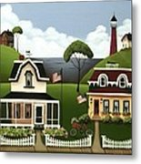 Lake Cottages Metal Print