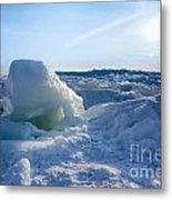 Lake Erie Ice Sunrise Metal Print