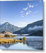 Lake Grasmere And Southern Alps Canterbury New Zealand Metal Print