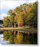 Lake House In Autumn Metal Print