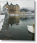 Lake In Front Of A Chateau, Chateau De Metal Print