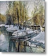 Lake In The Winter Metal Print