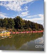 Lake Inlet With Dredger Metal Print