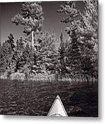 Lake Kayaking Bw Metal Print