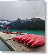 Lake Louise Canoes Metal Print