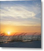 Lake Michigan Sunset With Dune Grass Metal Print