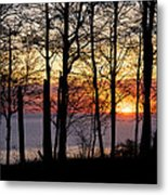 Lake Michigan Sunset With Silhouetted Trees Metal Print