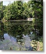 Lake On The Magnolia Plantation With White Bridge Metal Print