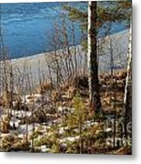 Lake Partly Covered With Ice In Early Spring Metal Print