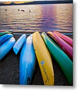 Lake Quinault Kayaks Metal Print by Inge Johnsson