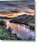 Lake Saguaro Sunset Metal Print