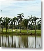 Lake Sand Traps Palm Trees And Golf Course Singapore Metal Print