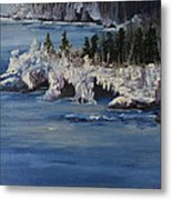 Lake Superior Ice Storm Metal Print