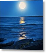 Lake Superior Moonrise Metal Print