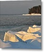 Lake Superior Winter Sunset Metal Print