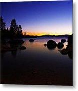 Lake Tahoe Sand Harbor Sunset Silhouette Metal Print