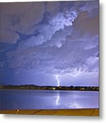 Lake View Lightning Thunderstorm Metal Print