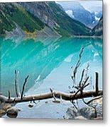 Lake With Canadian Rockies Metal Print