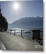 Lakefront With Sun Metal Print