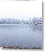 Lakeside In The Winter Snow Metal Print
