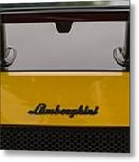 Lambo Logo Yellow Metal Print