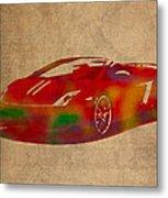 Lamborghini Gallardo 2013 Classic Sports Car Watercolor On Worn Distressed Canvas Metal Print