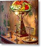 Lamp And Menorah Metal Print