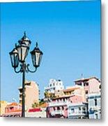 Lamp In Agios Nikolaos Metal Print by Luis Alvarenga