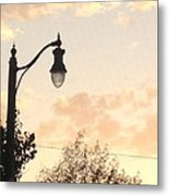 Lamp Post And Cotton Candy Sunset Metal Print