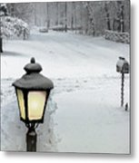 Lamppost In Snow Metal Print