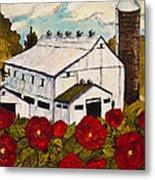 Lancaster Red Rose And Barn Metal Print by Paris Wyatt Llanso