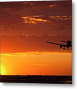 Landing Into The Sunset Metal Print