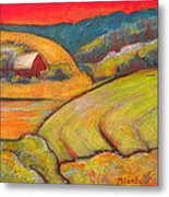 Landscape Art Orange Sky Farm Metal Print