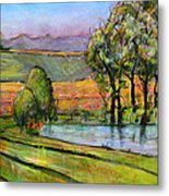Landscape Art Scenic Fields Metal Print by Blenda Studio
