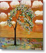 Landscape Art Scenic Tree Tangerine Sky Metal Print by Blenda Studio
