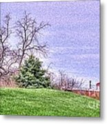 Landscape- Caboose - Little Red Caboose Metal Print