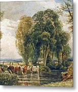 Landscape Cattle In A Stream With Sluice Gate Metal Print