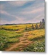 Landscape Field Grass Trees And Road  Metal Print by Drinka Mercep