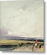 Landscape In Normandy, Traditionally Metal Print