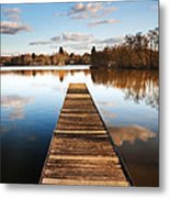 Landscape Of Fishing Jetty On Calm Lake At Sunset With Reflectio Metal Print