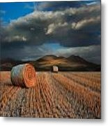 Landscape Of Hay Bales In Front Of Mountains Digital Painting Metal Print by Matthew Gibson