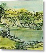 Landscape Pen & Ink With Wc On Paper Metal Print