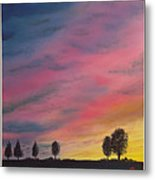 Landscape Sunset In Memenbetsu Cho Japan Metal Print