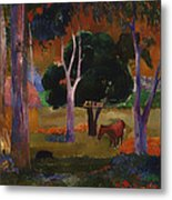 Landscape With A Pig And Horse Metal Print