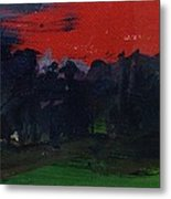 Landscape With A Red Sky Oil On Canvas Metal Print