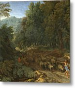 Landscape With A Shepherd And His Flock Metal Print