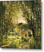 Landscape With A Sunlit Stream Metal Print