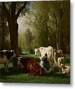 Landscape With Cattle And Sheep Metal Print